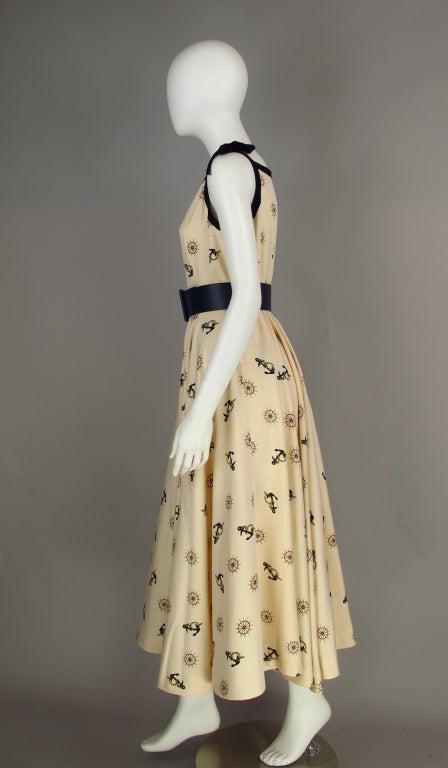 1950s silk nautical theme dress 6
