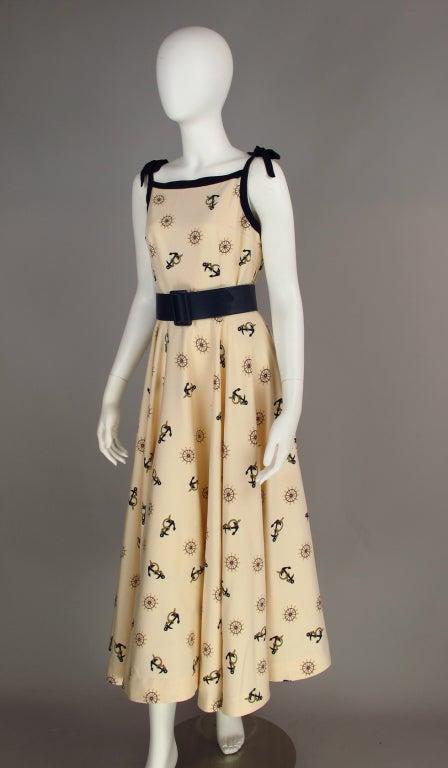 1950s Silk Nautical Theme Dress At 1stdibs