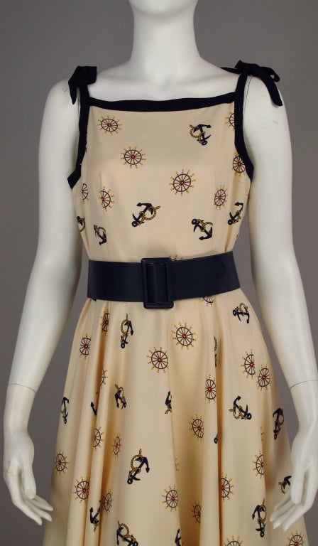 1950s silk nautical theme dress 8
