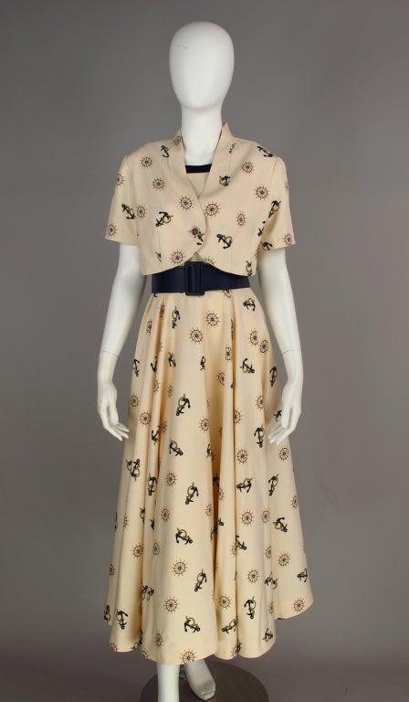1950s silk nautical theme dress 9