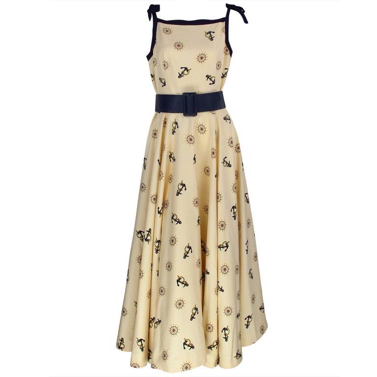 1950s silk nautical theme dress 1