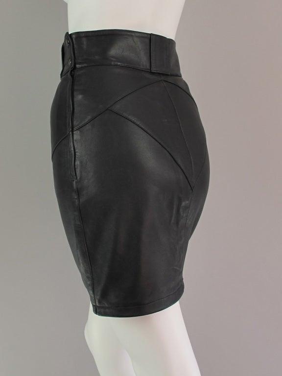 alaia black leather skirt at 1stdibs