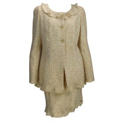 Chanel cream tweed ruffle trimed jacket and skirt