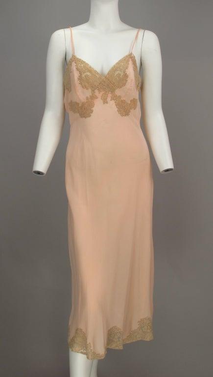 1930s Crepe de chine couture slip 2