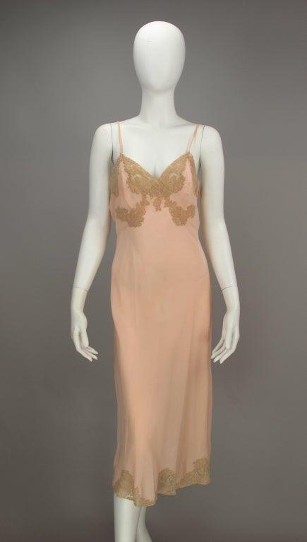 1930s Crepe de chine couture slip 4