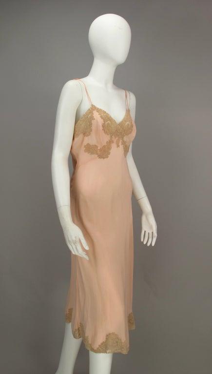 1930s Crepe de chine couture slip 5
