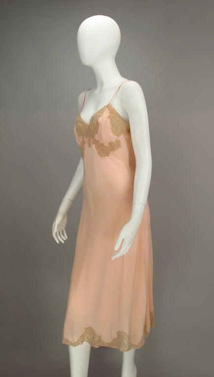 1930s Crepe de chine couture slip 9