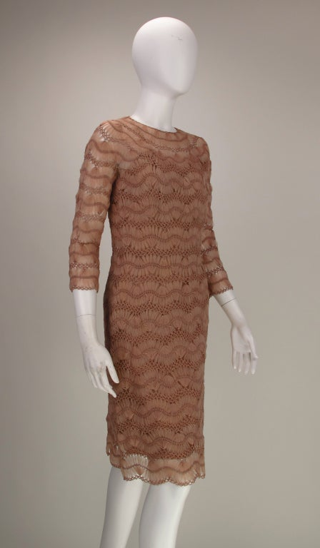 a1a5800edc Anna Giovannozzi 1950s silk ribbon knit dress In Excellent Condition For  Sale In West Palm Beach