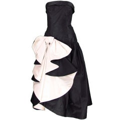 Mignon black and white cocktail gown 1980s