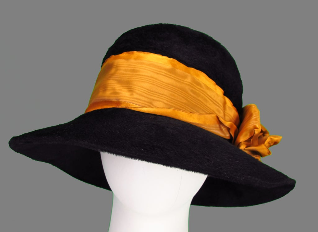 Black beaver fur felt hat from the late 1890s...trimmed in wide gold 25470b4c96a