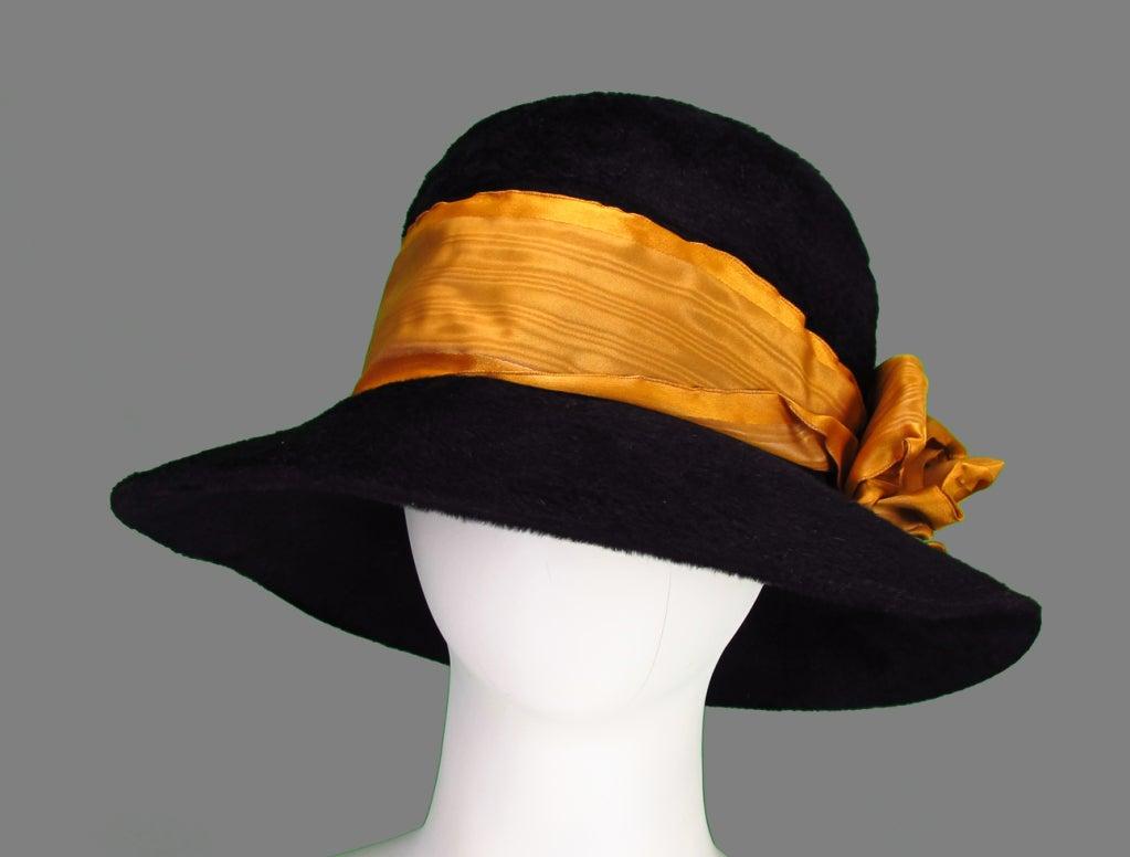 Victorian black beaver fur felt hat 3