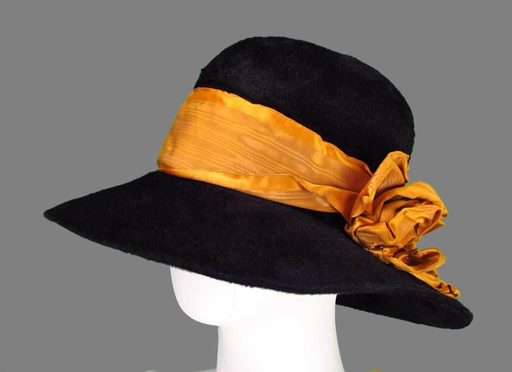 Victorian black beaver fur felt hat 4
