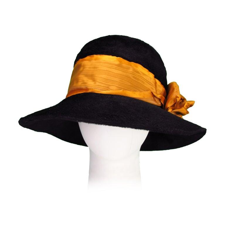Victorian black beaver fur felt hat 1