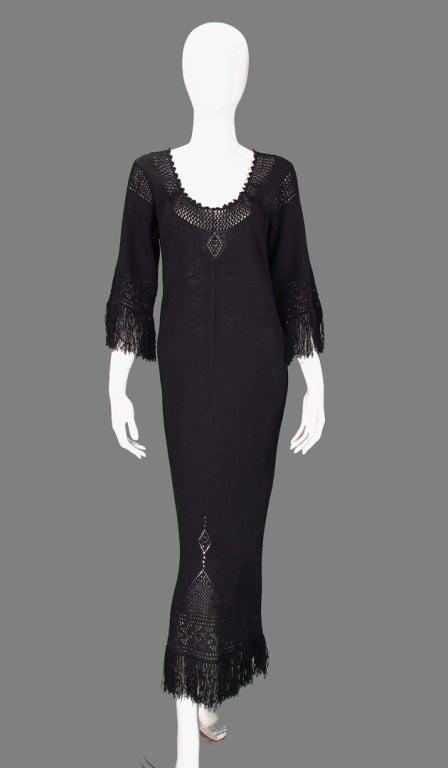 Giorgio di Sant'angelo black crochet boho fringe dress 2