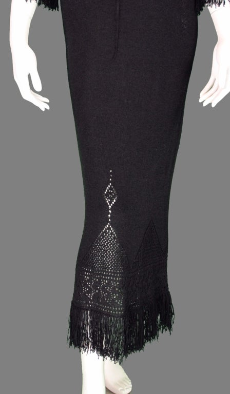 Giorgio di Sant'angelo black crochet boho fringe dress 3