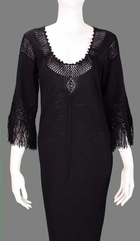Giorgio di Sant'angelo black crochet boho fringe dress 4