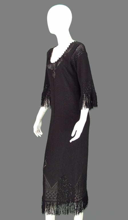 Giorgio di Sant'angelo black crochet boho fringe dress 5