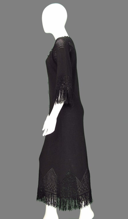 Giorgio di Sant'angelo black crochet boho fringe dress 6