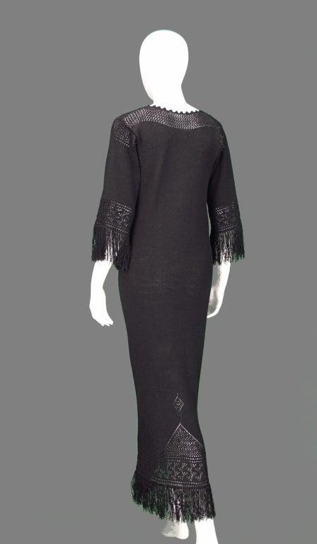 Giorgio di Sant'angelo black crochet boho fringe dress 7