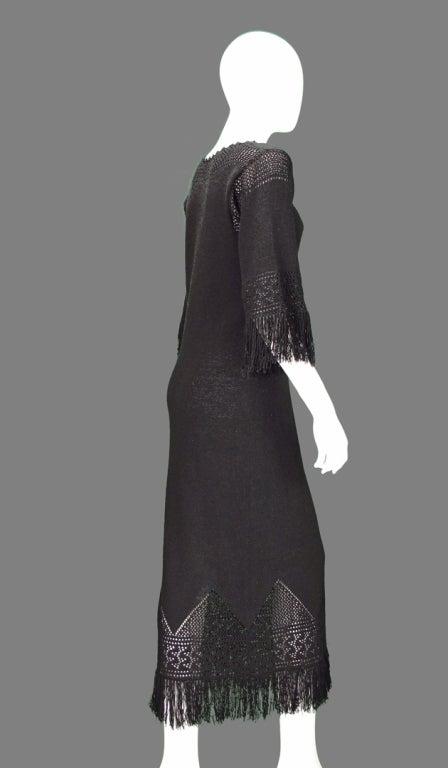 Giorgio di Sant'angelo black crochet boho fringe dress 8