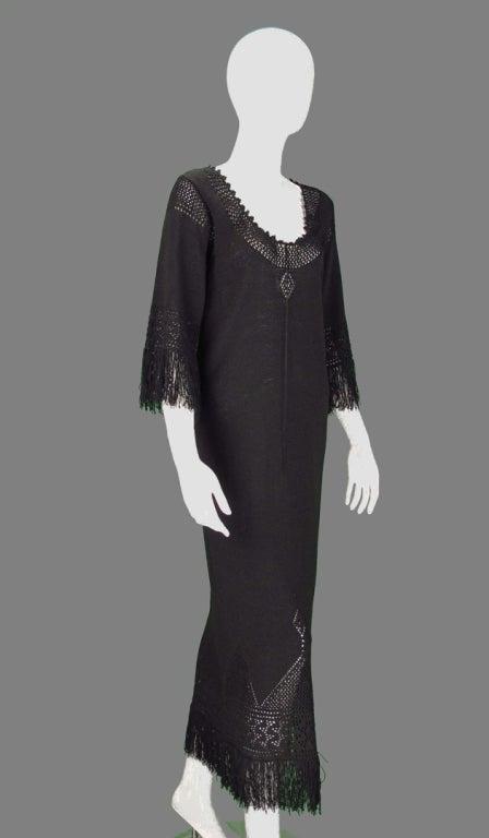 Giorgio di Sant'angelo black crochet boho fringe dress 9