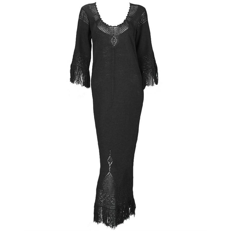 Giorgio di Sant'angelo black crochet boho fringe dress 1