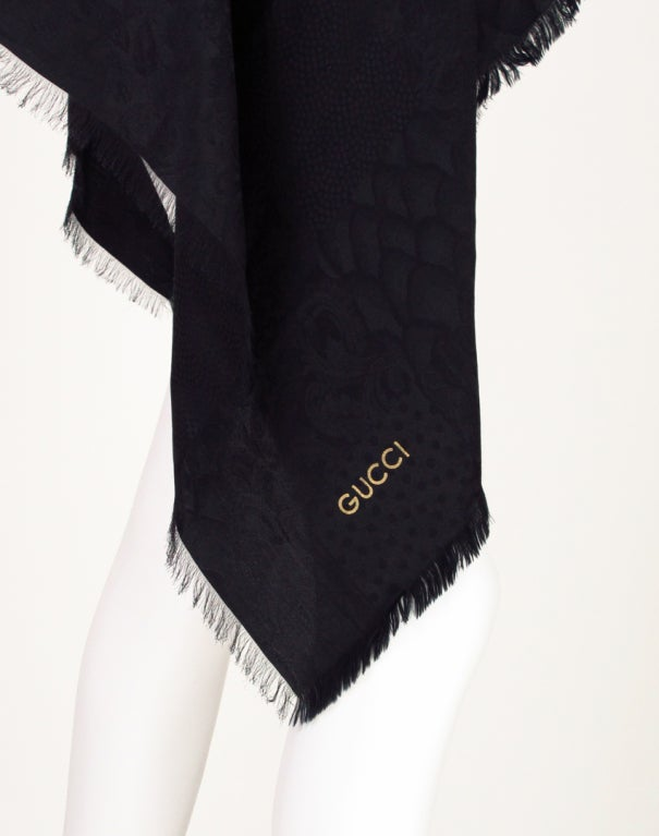 Gucci figured silk scarf wrap 3