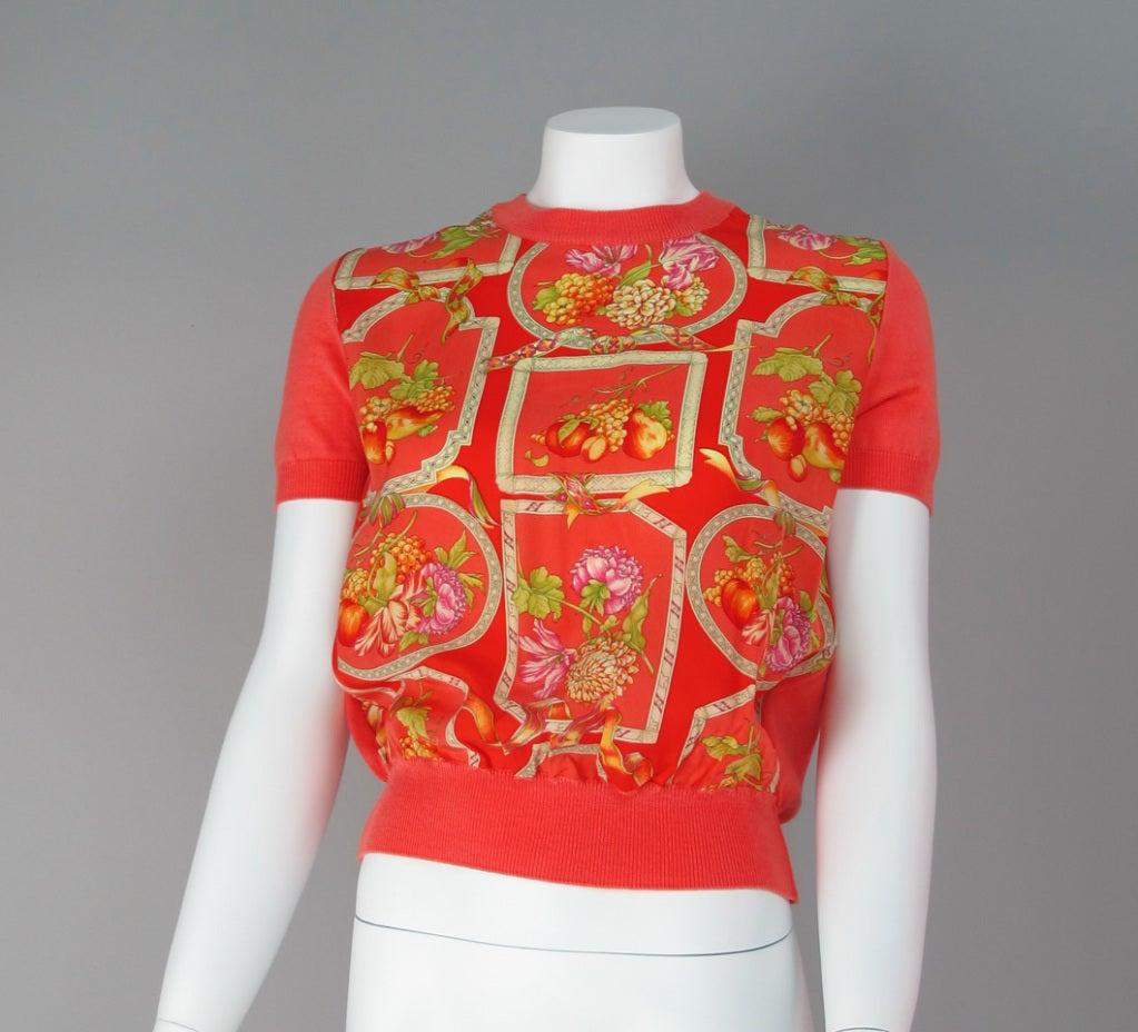 Salvatore Ferragamo silk scarf front sweater 6