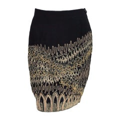 1990s Gianfranco Ferre embroidered silk skirt