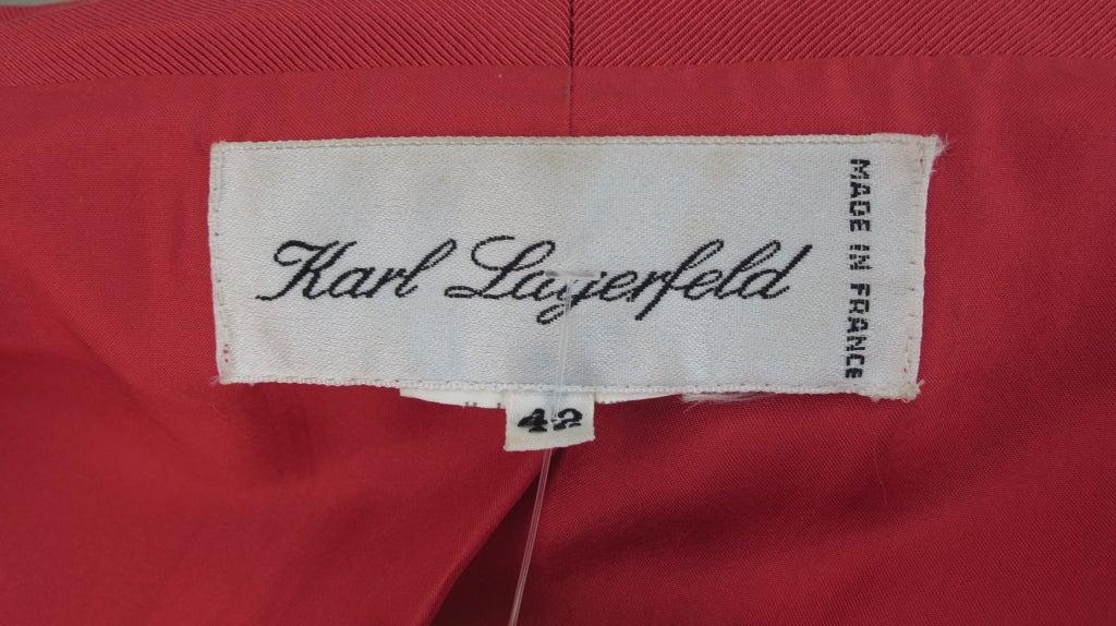 1990s Karl Lagerfeld coral redingote style jacket 10