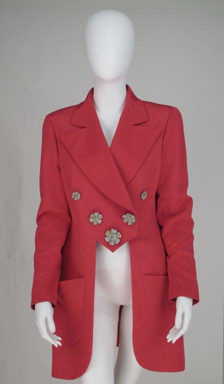 1990s Karl Lagerfeld coral redingote style jacket 2