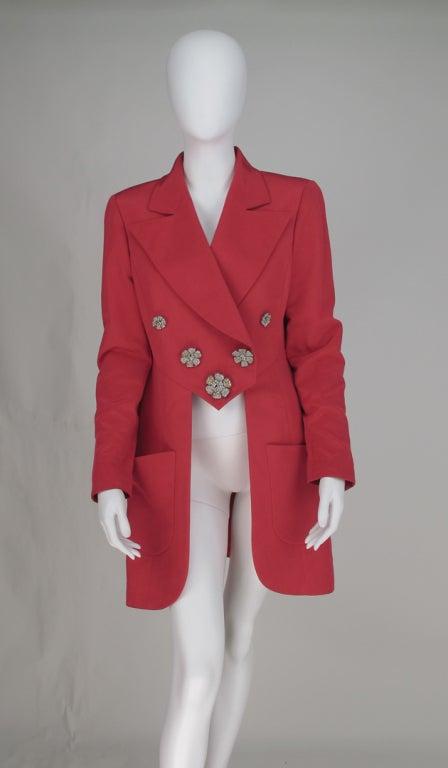 1990s Karl Lagerfeld coral redingote style jacket 3