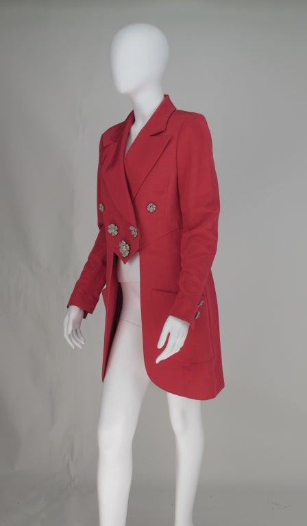 1990s Karl Lagerfeld coral redingote style jacket 4