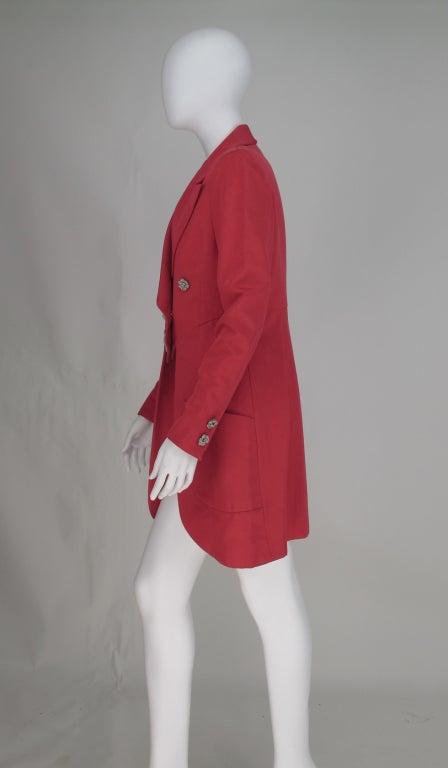 1990s Karl Lagerfeld coral redingote style jacket 5