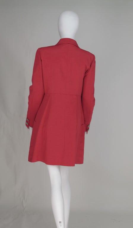 1990s Karl Lagerfeld coral redingote style jacket 6