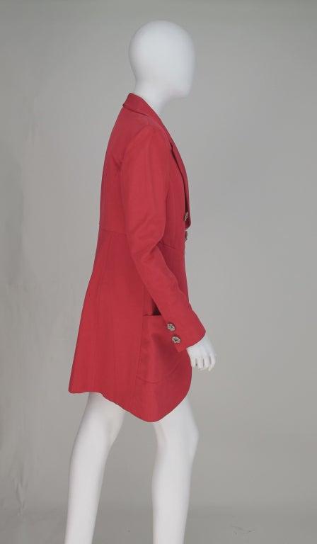 1990s Karl Lagerfeld coral redingote style jacket 7