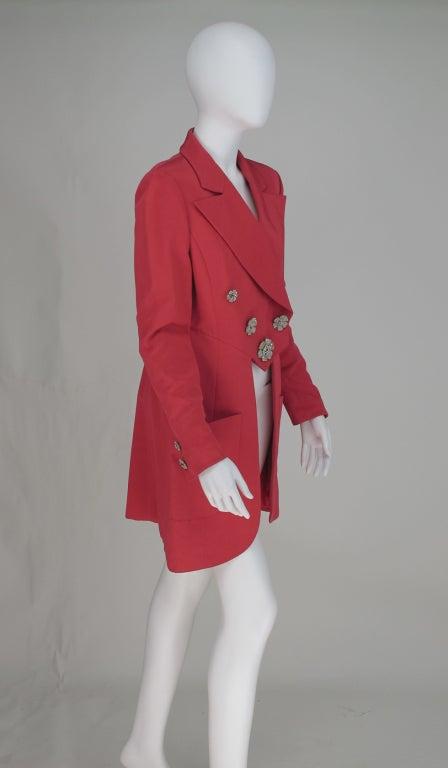 1990s Karl Lagerfeld coral redingote style jacket 8
