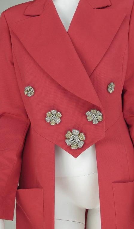 1990s Karl Lagerfeld coral redingote style jacket 9