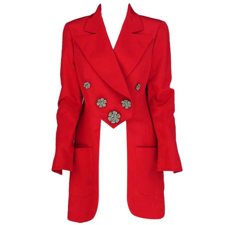1990s Karl Lagerfeld coral redingote style jacket 1