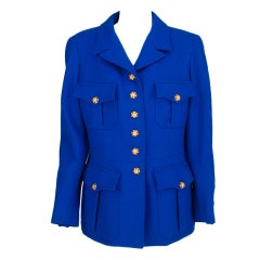 Chanel jewel button royal blue wool jacket, 1990s