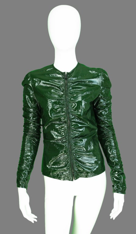 Gucci moss green patent leather jacket 2