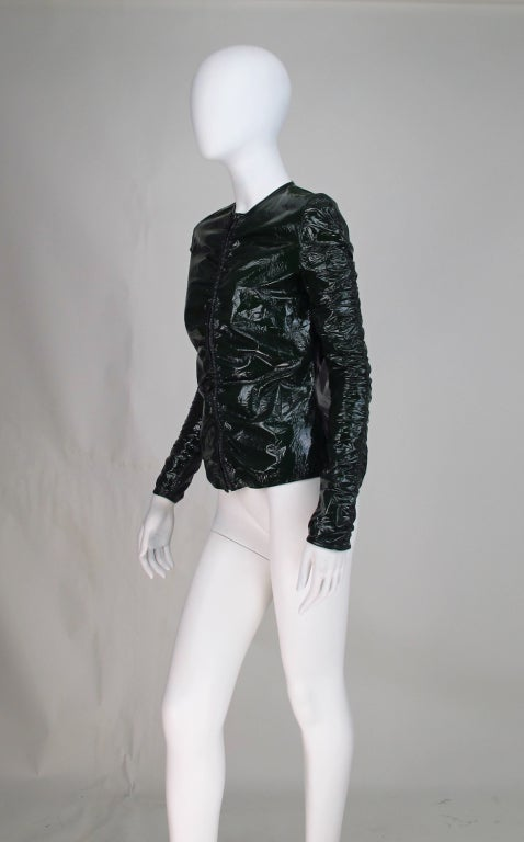 Gucci moss green patent leather jacket 3