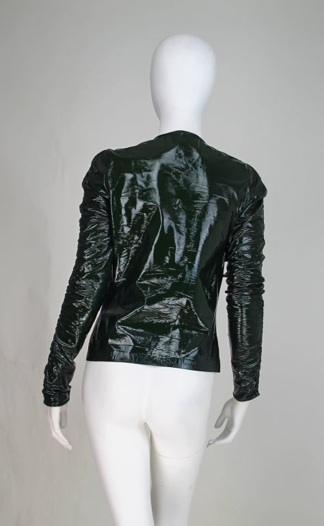 Gucci moss green patent leather jacket 5