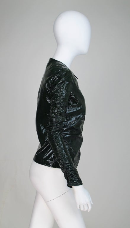 Gucci moss green patent leather jacket 6