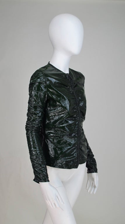 Gucci moss green patent leather jacket 7