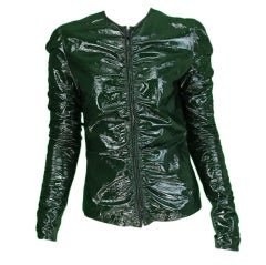 Gucci moss green patent leather jacket