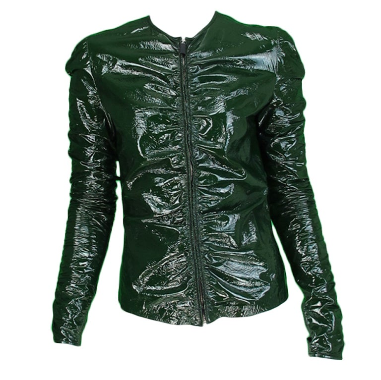 Gucci moss green patent leather jacket 1
