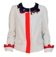 Prada knit crochet applique jacket