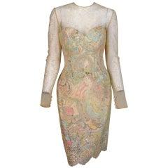 1990s Vera Wang gold lace & Swarovski crystal cocktail dress