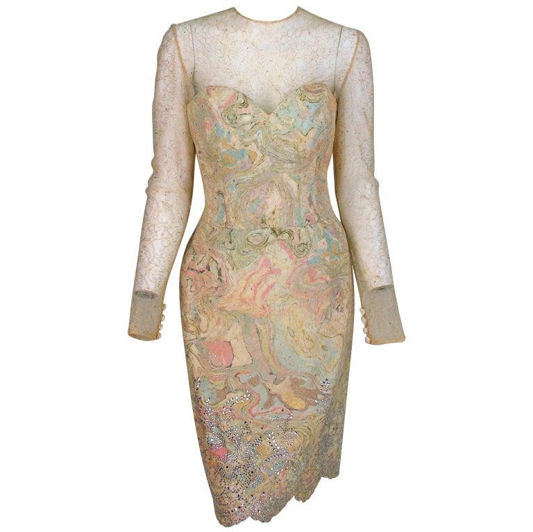1990s Vera Wang gold lace and Swarovski crystal cocktail dress at ...